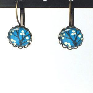 Gekartelde oorhangers blauw boom