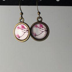 Oorhangers roze bloemtak